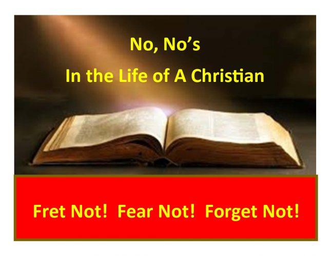 NO NO'S FOR CHRISTIANS (4 Lessons)